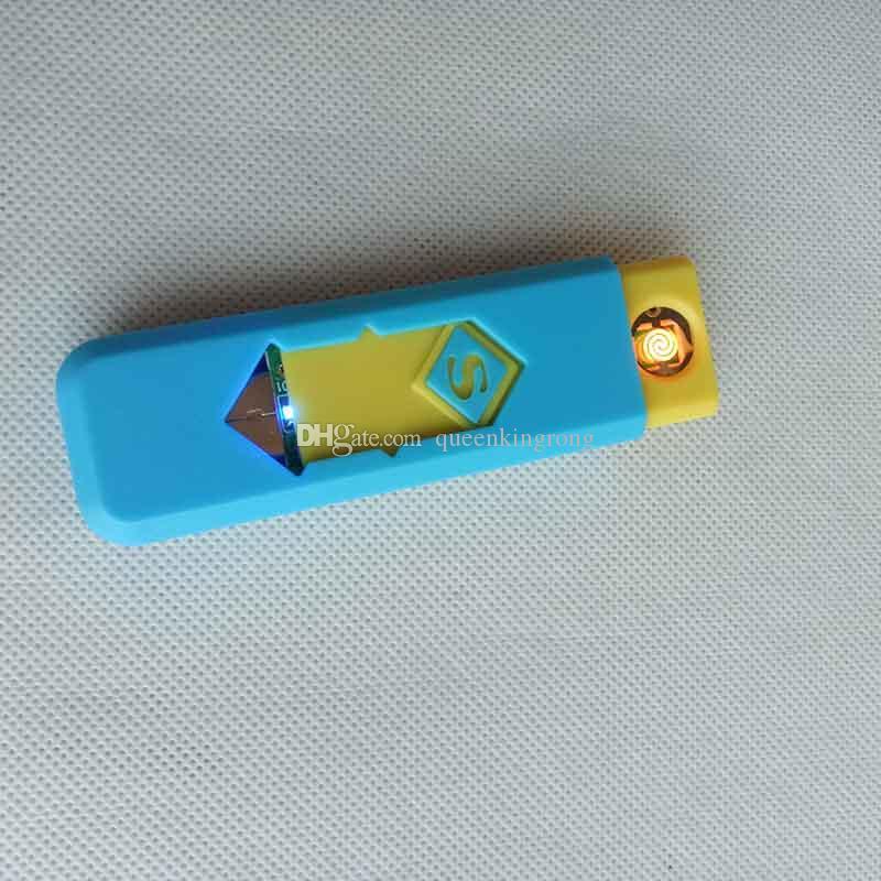 Recargable sin llama cigarro cigarrillo electrónico USB encendedor con la exhibición de la caja también ofrecen encendedores de gas de la antorcha de arco fumadores Herramientas Accesorios
