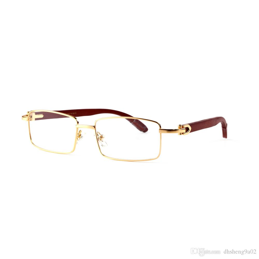 Best-seller de la marque Designers Full Rim Rectangle Glasses Made in France Heart Hinges Vintage Lunettes de soleil en bois avec verres transparents
