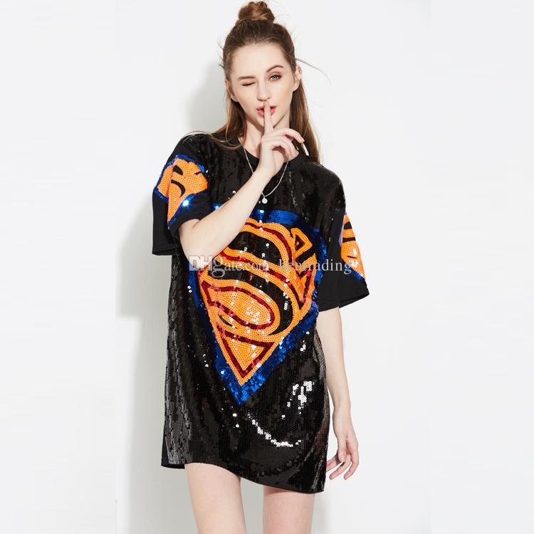 687767dc12da1 New Hip Hop Women Dance Sequin T Shirt Dress Funny Tee T Shirt Buy From  Heatrading, $17.09| DHgate.Com