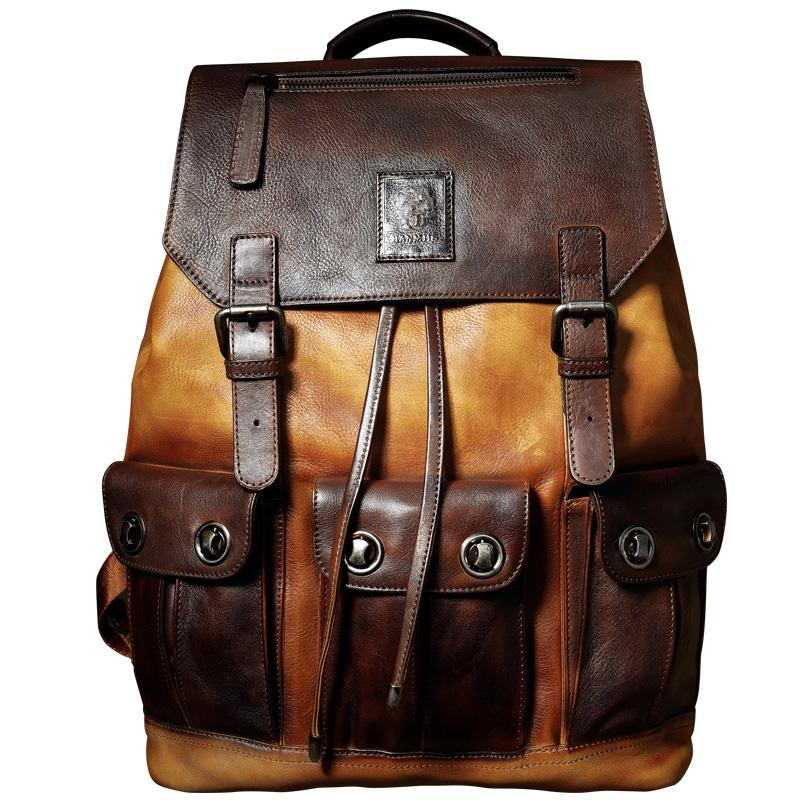 Backpack Luxury Mens Cow Leather backpack Large Capacity Retro Shoulder Bag Style Travel Bag