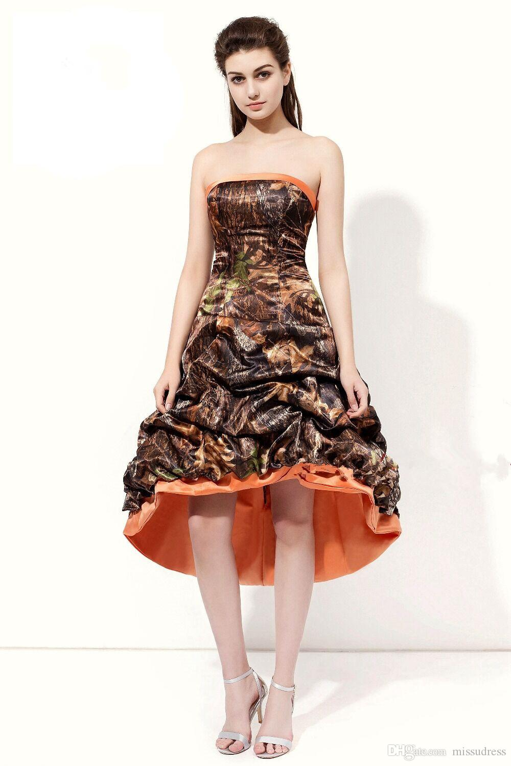 6f3eab65d29be Camo Prom Dresses Strapless High Low Prom Gowns camouflage Sleeveless  Strapless Evening Dress For Women 2018 Real photos