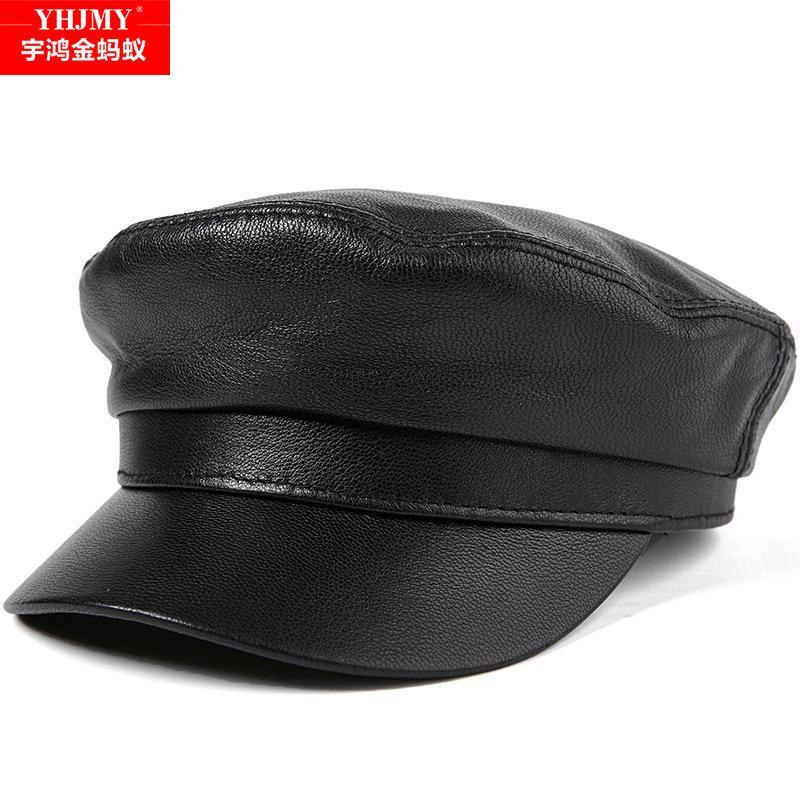 a4455622ad4 Genuine Leather Hat Cap Men s Baseball Cap Adult Sheepskin Flat Caps ...