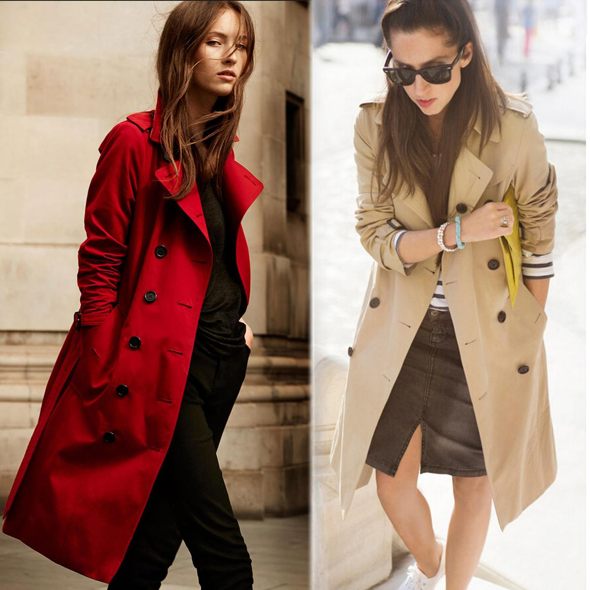 JAZZEVAR 2017 Autumn New High Fashion Brand Woman Classic Double Breasted Trench Coat Waterproof Raincoat Business Outerwear