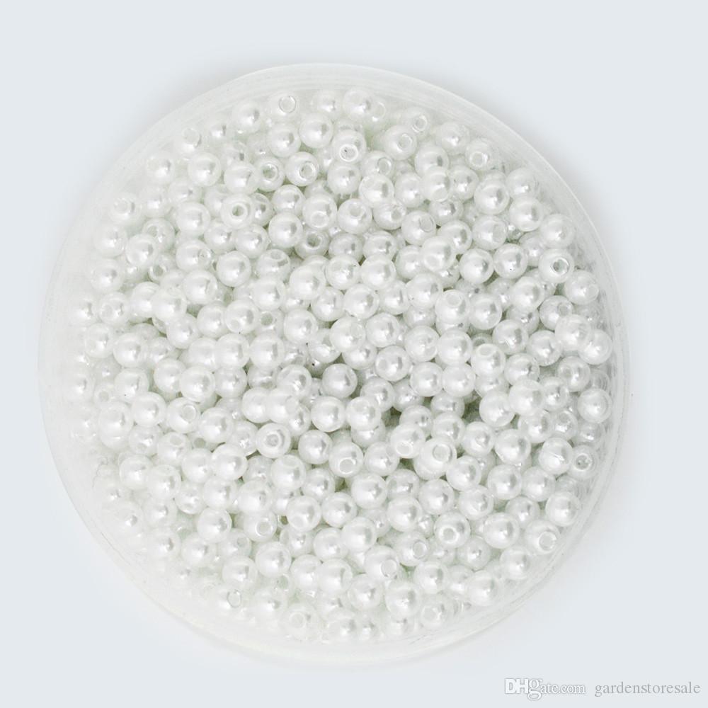 اختيار الحجم 4.6.8.10.12mm ABS الأبيض العاج تقليد لآلئ الخرز جولة فضفاض الخرز احتواء DIY سوار صنع المجوهرات