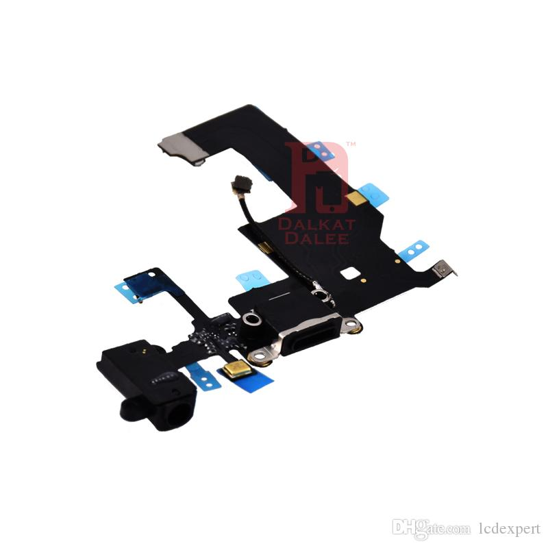 Şarj Portu Dock USB Konektörü Flex Kablo iphone 5 Şarj ile Kulaklık Jack Mic Anten Kablosu Ses Jack Mic Şerit Değiştirme