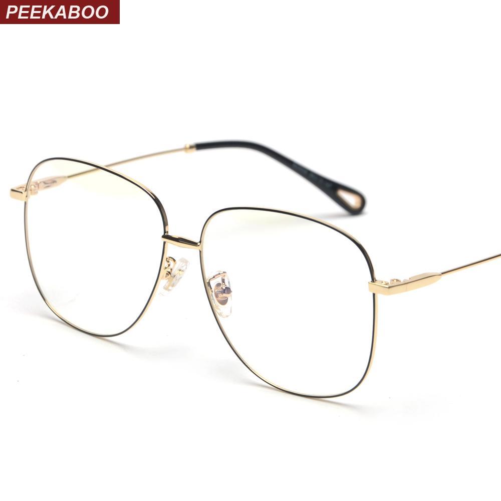 74edd8e8adc 2019 Peekaboo Men Oversized Glasses Optical Men 2018 Gold Black Big Square  Eyeglasses Frame Women Metal Frame High Quality From Cupwater