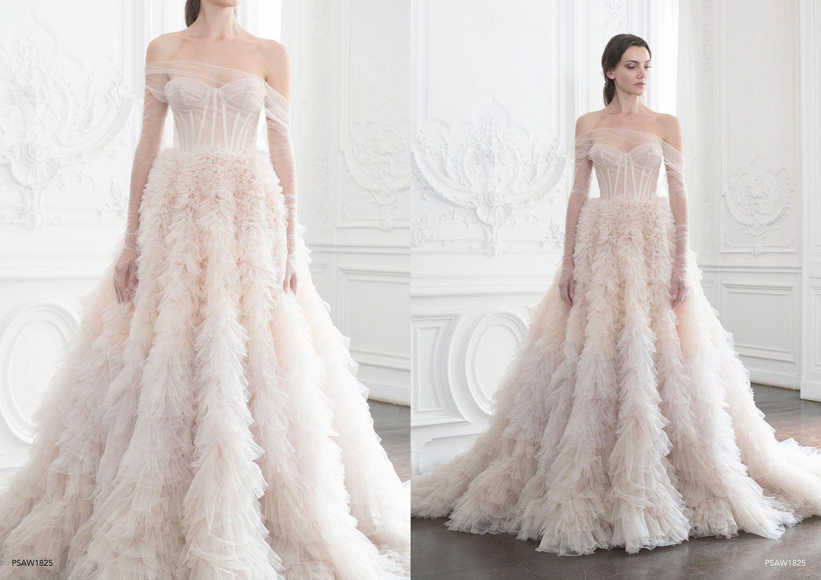 Discount Paolo Sebastian 2019 Pink Wedding Dresses