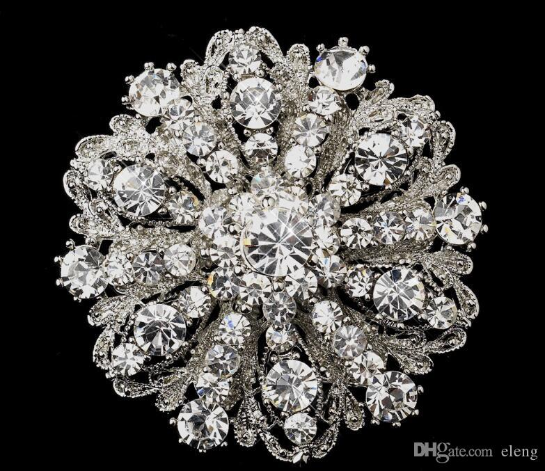 2018 12mm Vintage Style Rhodium Silver Tone Large Size Flower Rhinestone Diamante Crystal Brooch for Women 98