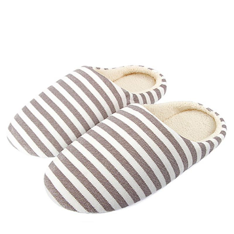 35d4f70e10c Winter Home Slippers Women Shoes Soft Velvet Lady Indoor Shoes Striped  Flats Slipper For Women Warm Cotton Pantufas Men Men Boots Slipper Boots  From Croftte ...