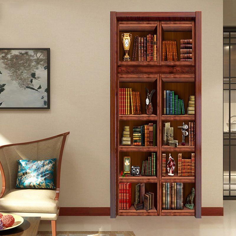 PVC Self Adhesive Waterproof Bookshelf Mural Wallpaper 3D Chinese Style Doors Renovation Sticker Living Room Study Door Horse House