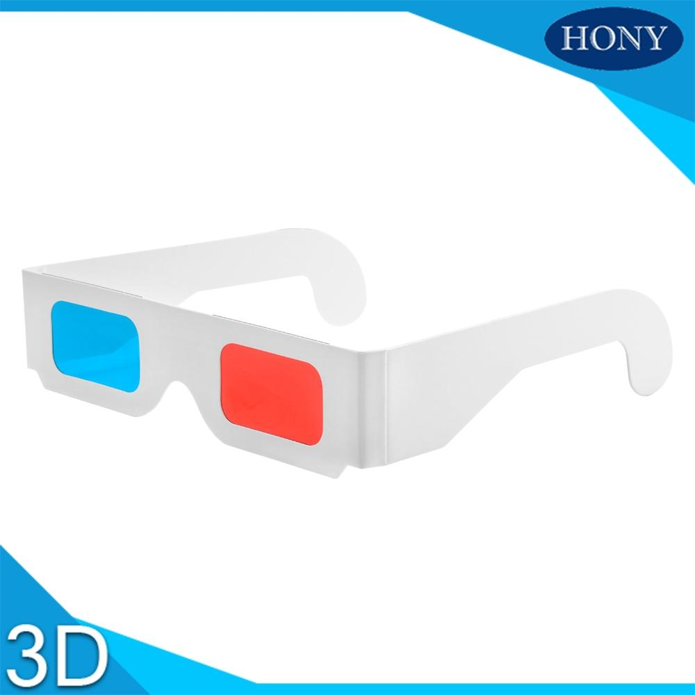 Free Shipping 10pcs/lot Universal Paper Anaglyph 3D Glasses Paper 3D Glasses View Anaglyph Red Cyan Red/Blue Glass For Movie