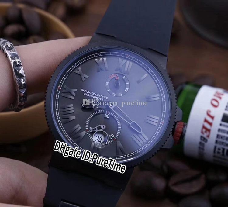 New Marine Torpilleur 1183-310 Power Reserve All Black PVD Black Dial Automatic Mens Watch Rubber Sports Watches Cheap Puretime UN113