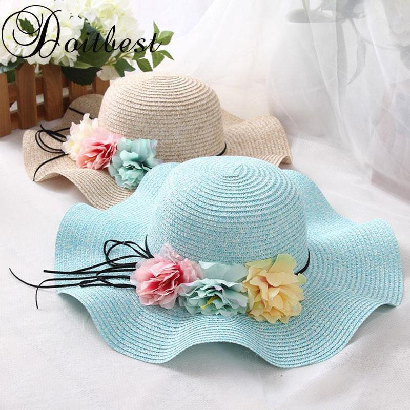 2018 Retail Summer Children Flower Simple Wavy Large Brimmed Straw Hat Boys  Girls Beach Hats Parent-child Sun Hat Brim Straw Hats Large Brim Straw Hat  Beach ... 442f1e717ee7