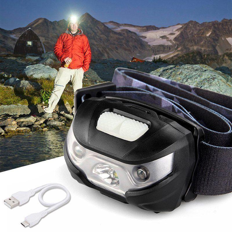 Super Bright LED Headlight with 1200mAh Rechargeable Battery Head Torch Lamp CREE Camping Induction Headlamp
