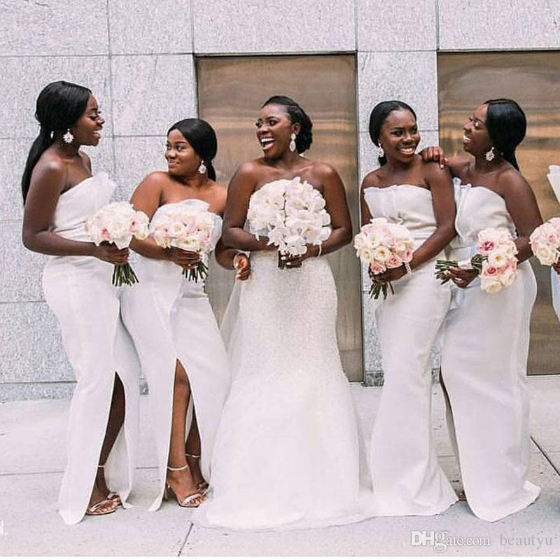 Elegant White Bridesmaid Dresses For Wedding Party 2019 African Black Girls  Sexy Strapless Side Split Long Mermaid Maid Of Honor Gowns Pale Pink  Bridesmaid ... 30e43f4a0604
