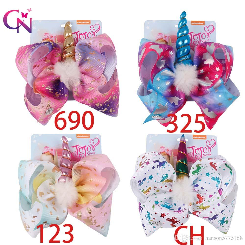 8 Inch Jojo Bows Leather Hair Clip Big Mermaid Hair Bow Kid Hair Accessories Birthday Party Supplies