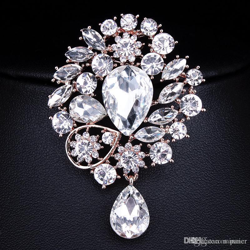 0bdb65c259e Cheap Flower Crystal Large Rhinestone Brooch Wholesale Vintage Costume  Jewelry Rhinestone Brooches