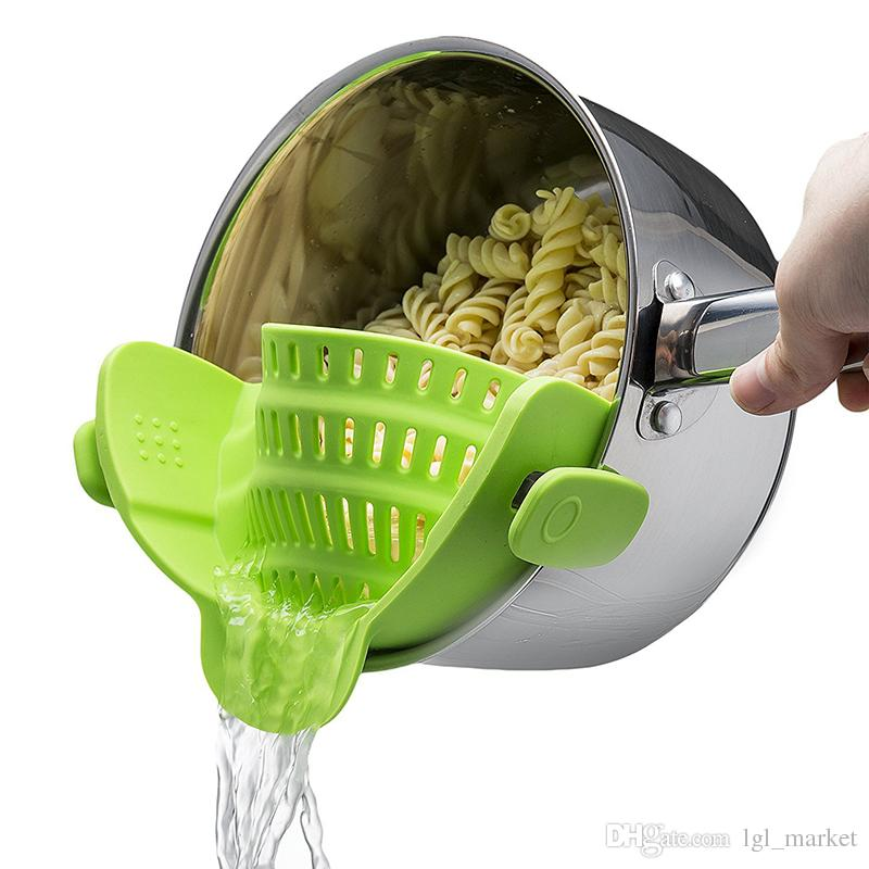 2018 New Multifunction Silicone Pot Pan Bowl Funnel Strainer Kitchen Rice Washing Colander Tool Liquid Drainer Kitchen Colander For Pans Pot