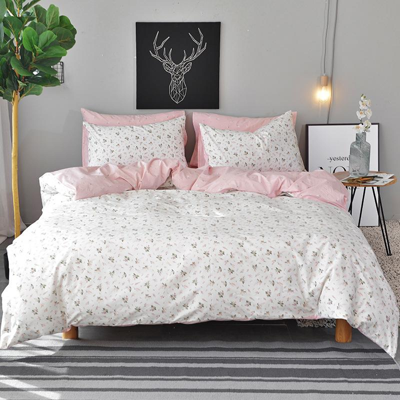 White Flowers Duvet Cover Set Twin Queen King Size Bedding Sets Pink
