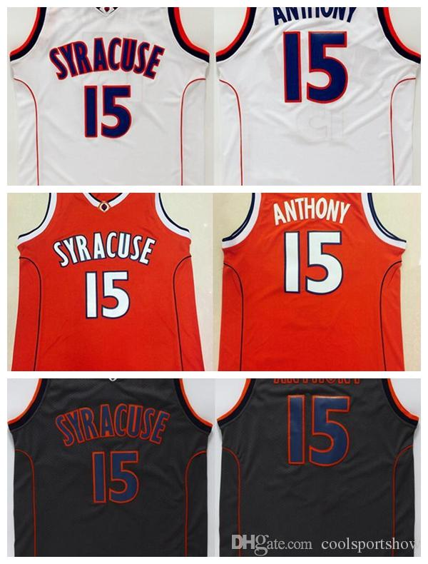 d238af09ad20 2019 Men S Syracuse College NCAA  15 Carmelo Anthony Jersey Orange Black  White Carmelo Anthony Stitched Basketball Jerseys From Coolsportshow