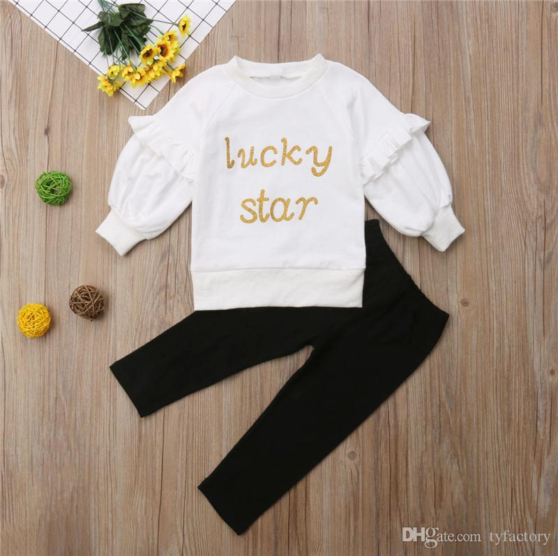 c64e02664 New Lucky Star Kids Girls Clothing Puff Sleeve Pullover White Tops ...