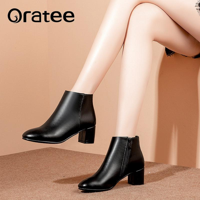 New Autumn Winter Short Ankle Riding Boots Lady s Leather Square ... a380dc0c5ba5