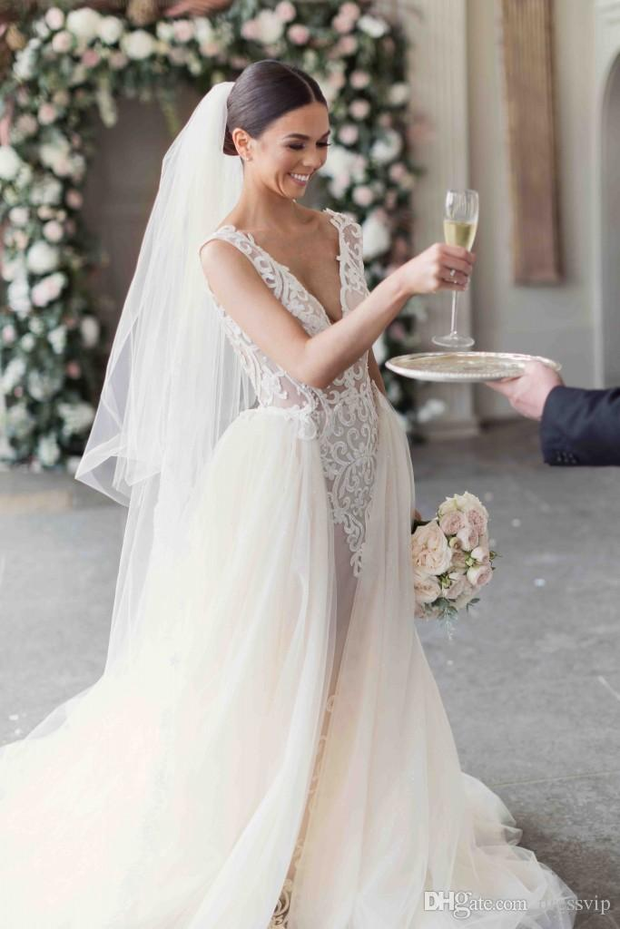 2018 Berta Mermaid Wedding Dresses With Detachable Train Lace Applique Deep V Neck Sweep Train Plus Size Country Bridal Dress Backless Gowns