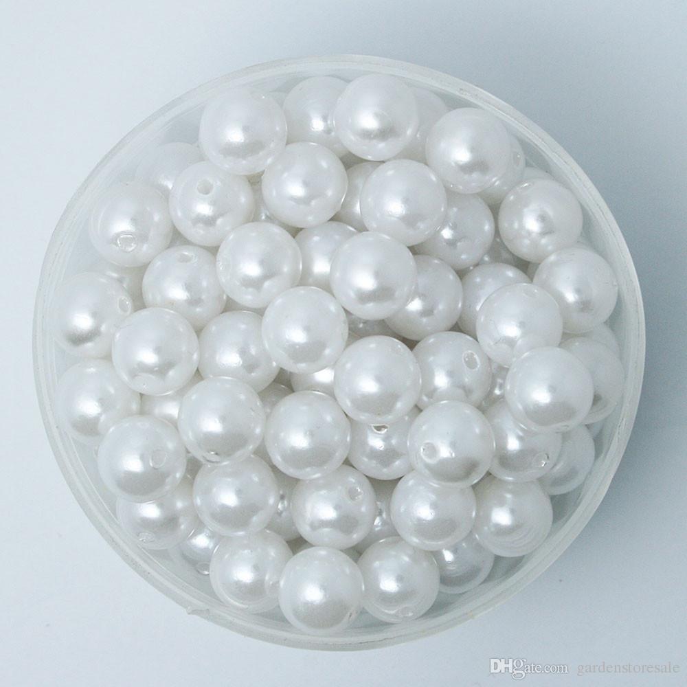 Scegli la tua taglia 4.6.8.10.12mm ABS Bianco Avorio Le perle d'imitazione Perle allentati rotondi misura il braccialetto DIY monili che fanno