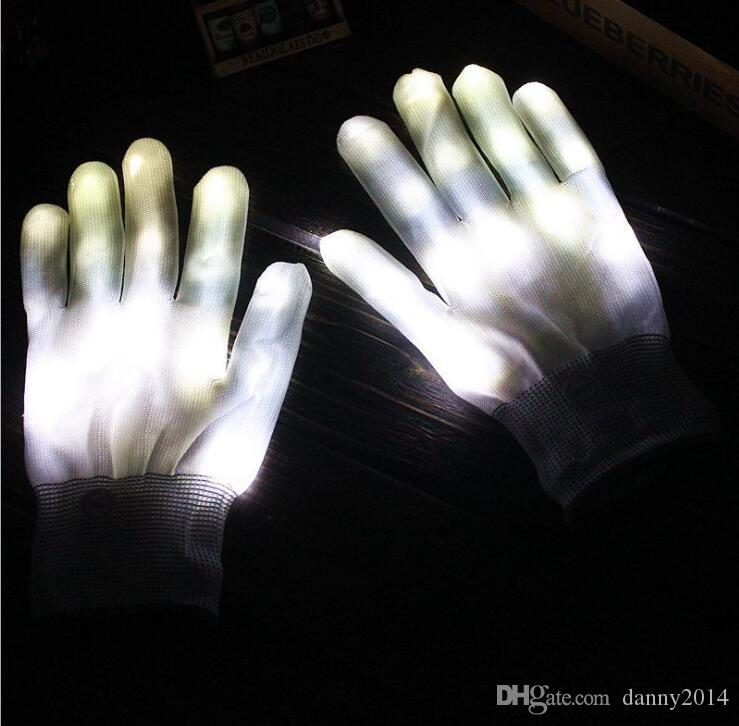 Halloween led gloves cosplay costume ghost skull glove led lighted toy christmas Light props Party LED gloves 6 colors finger glove
