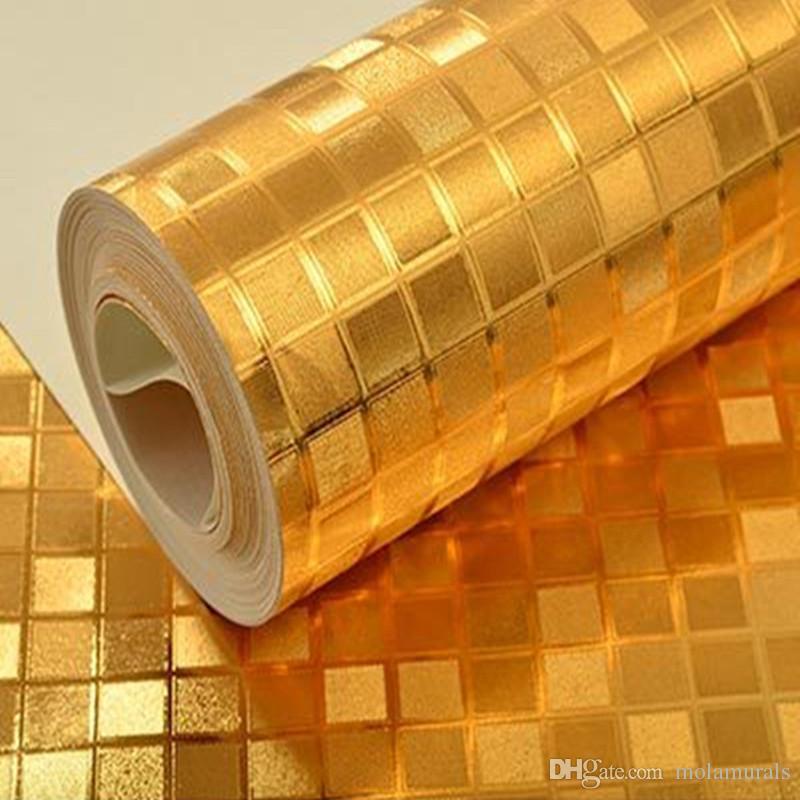 Grosshandel Luxus Silber Gold Glitter Tapeten Golden Foil Mosaik