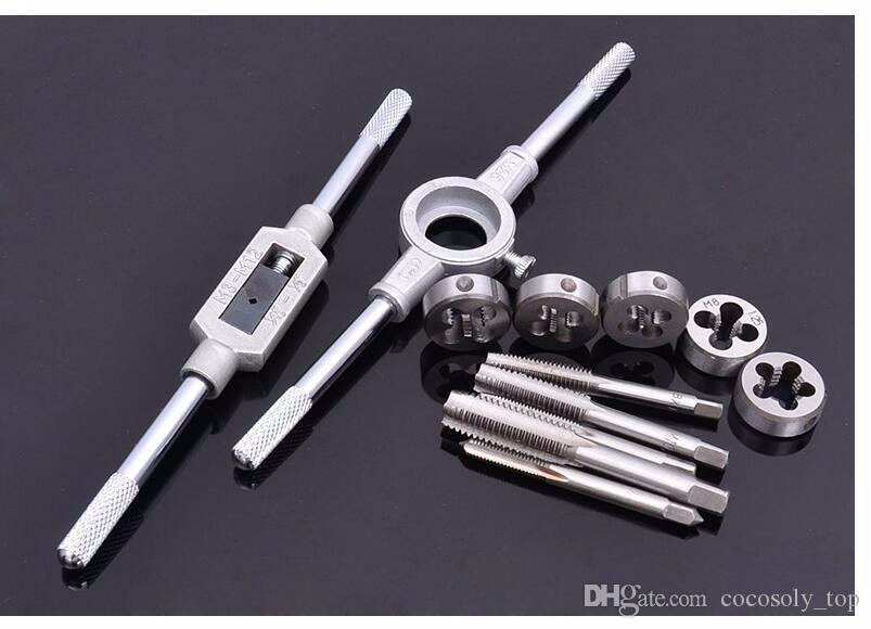 High quality tap and die set M3~M12 Screw Thread Metric Plugs Taps & Tap wrench & Die wrench, hand screw taps Hand Threading