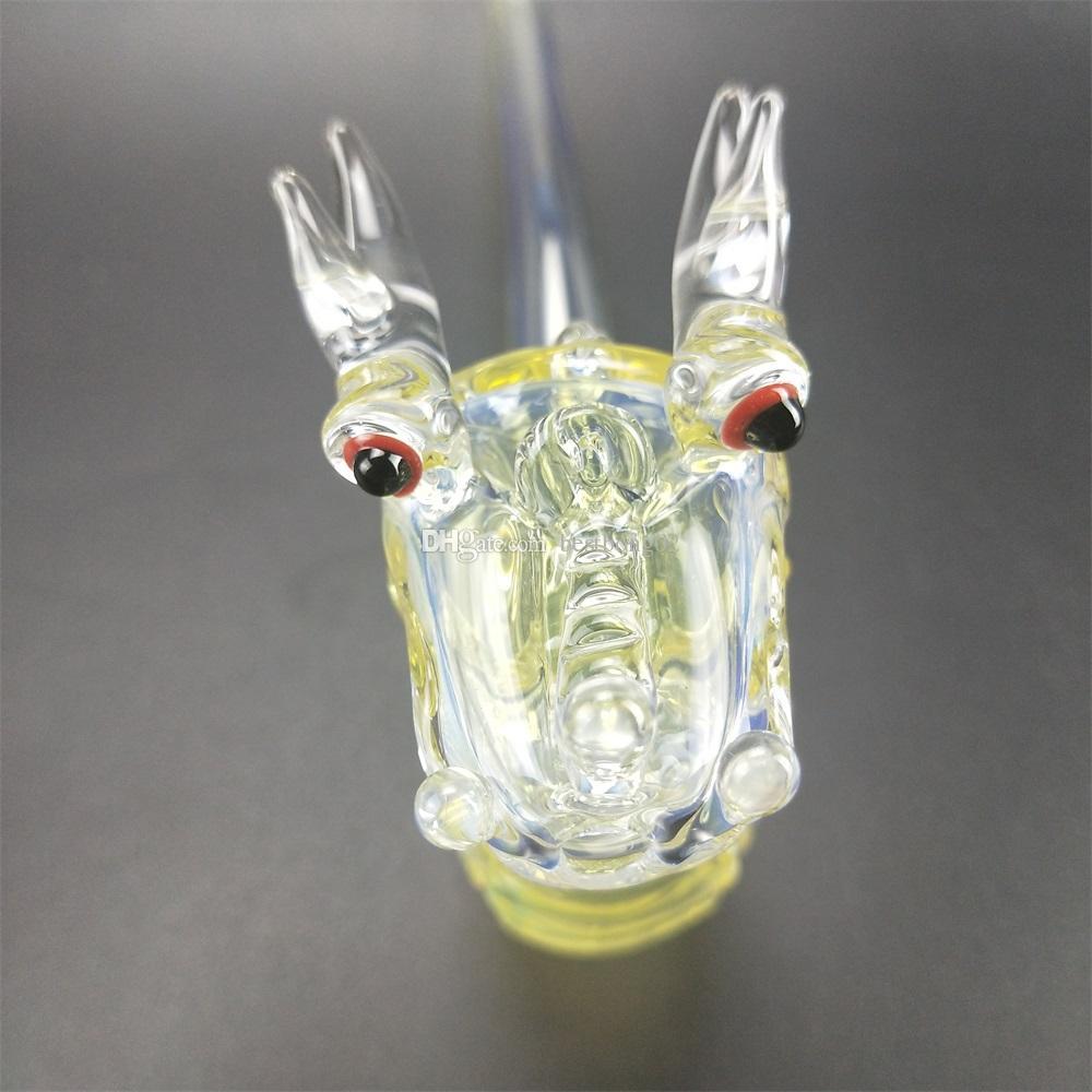 24 cm Verre Main Pipe Dragon Tête Shape Narguilé Tuyaux d'eau pour fumer verre cuillère tuyau d'eau dragon préférentiel modélisation du son barboteur tuyau