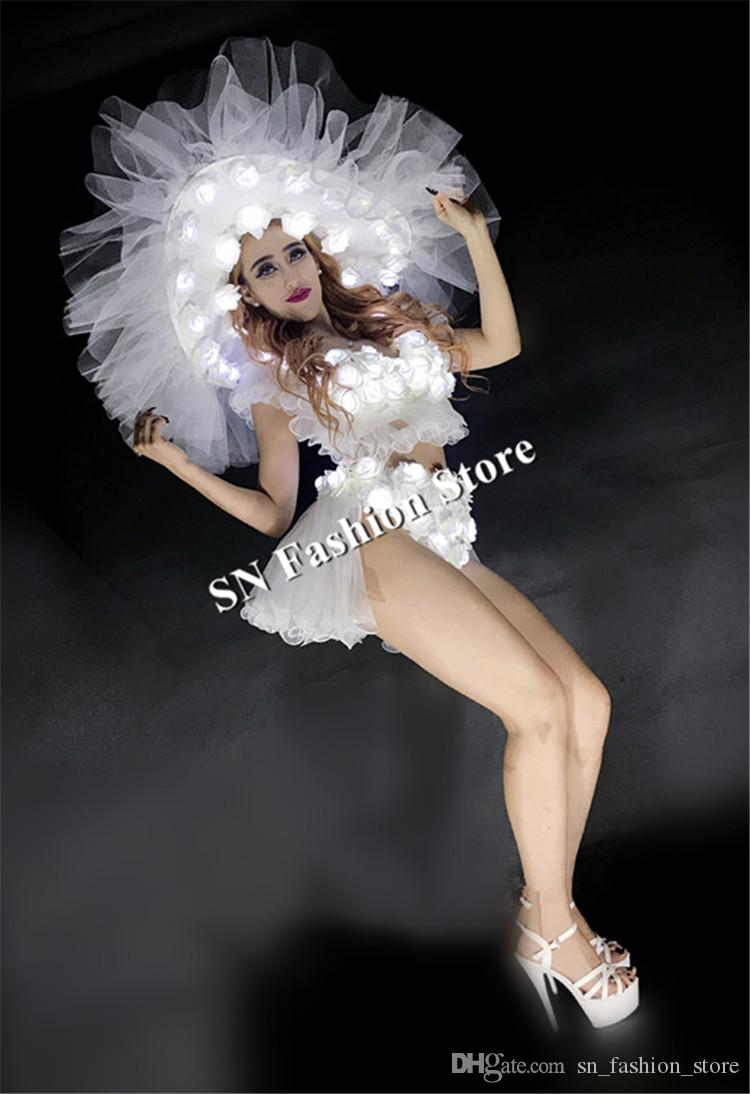 BC47 Beyaz led kostümleri balo salonu dans led noel dansçı dj sahne elbise giyer ışık elbise başlık aydınlık şapka sutyen etek performans