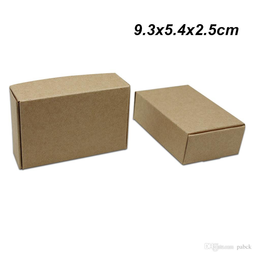 Brown 9.3x5.4x2.5cm 50 PCS Kraft Paper Crafts Paper Board Jewelry DIY Box Candy Chocolate Party Craft Paper Gifts Accessories Storage Box