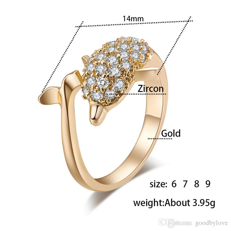 18K Yellow Gold Plated Full Paved Cubic Zircon CZ Dolphin Animal Finger Ring Fashion Womens Jewelry Bijoux for Party Wedding
