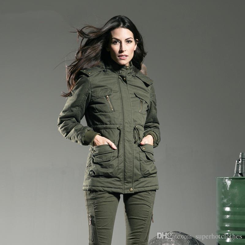 65e521dd496 Winter Jacket Womens Jackets And Coats Green Slim Fur Collar Medium Cotton Padded  Down Parkas Women S Outerwear Winter Jackets Jean Jacket From ...