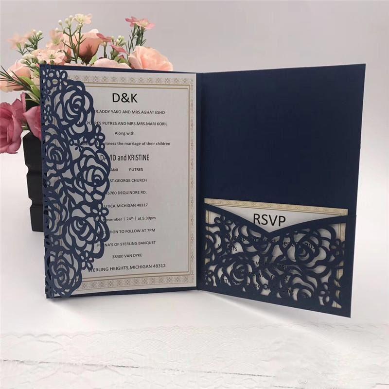 Do You Need An Inner Envelope For Wedding Invitations: 2019 Navy Blue Laser Cut Pocket Wedding Invitation Suites