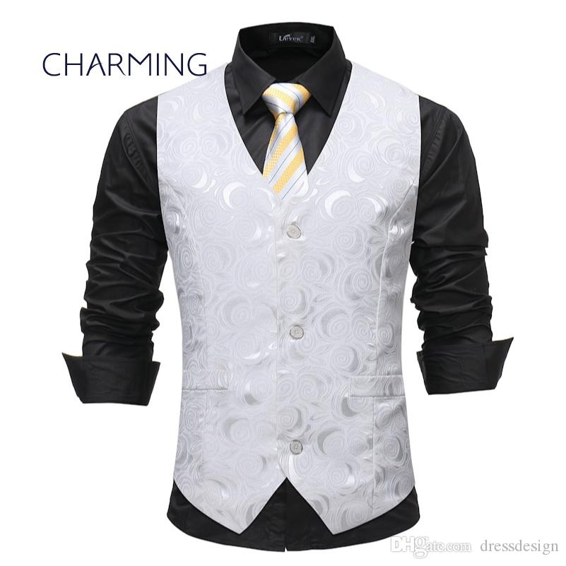 Mens Fashion Vest Fashion Jacquard Fabric Design Cool Men Vests Mens