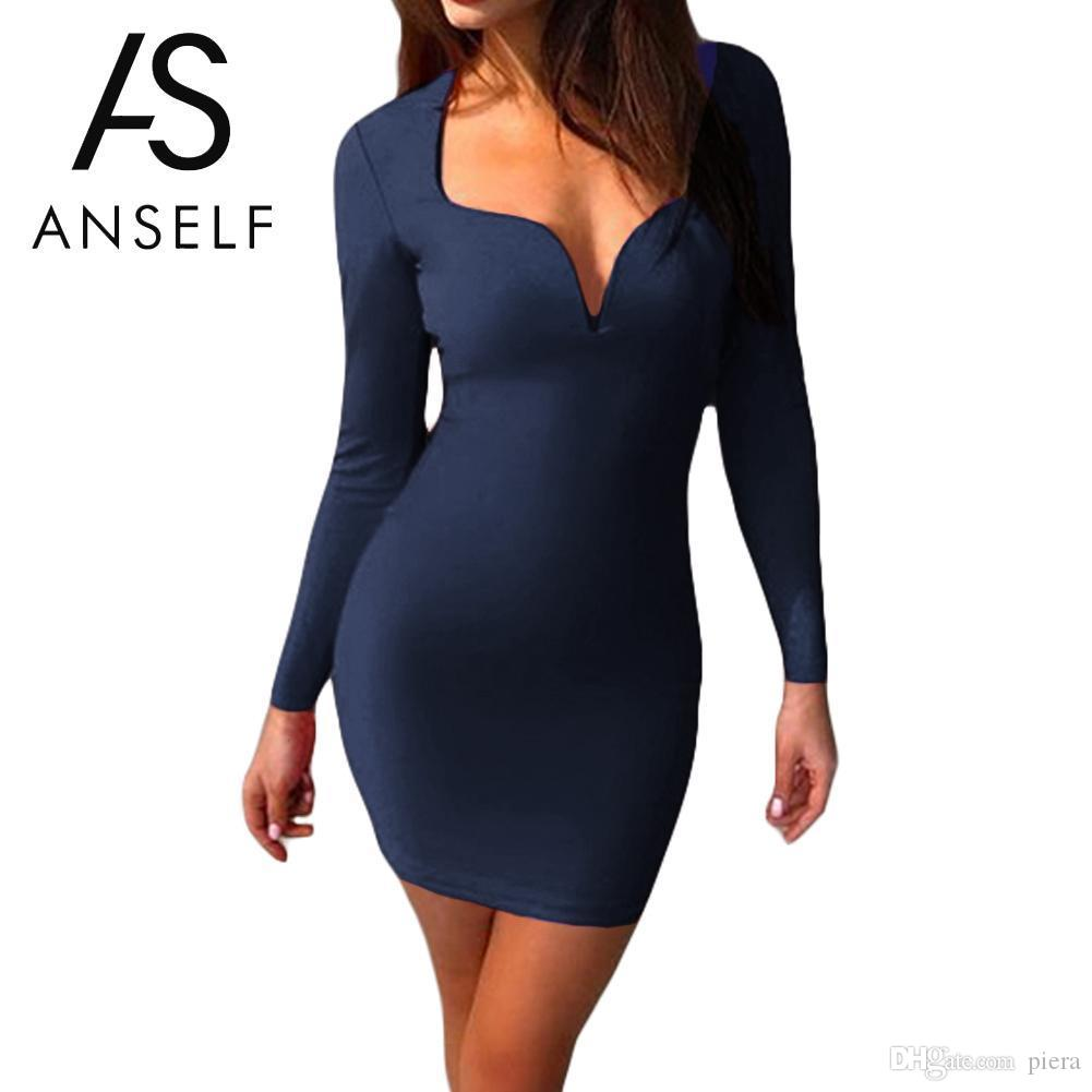 35f6ada6fc 2019 2018 HOT Spring Sexy Bandage Dresses Women Deep V Neck Long Sleeve  Bodycon Dress Female Party Club Wear Cocktail Mini Dress Tube From Piera