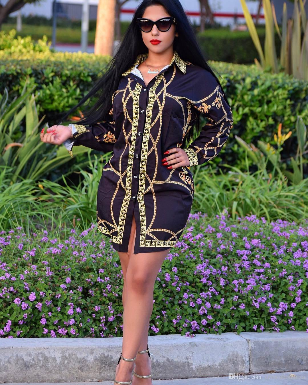 Autumn 2018 New Fashion Printed Shirt Dress Women Tops Long Sleeve ... 9a01256c6