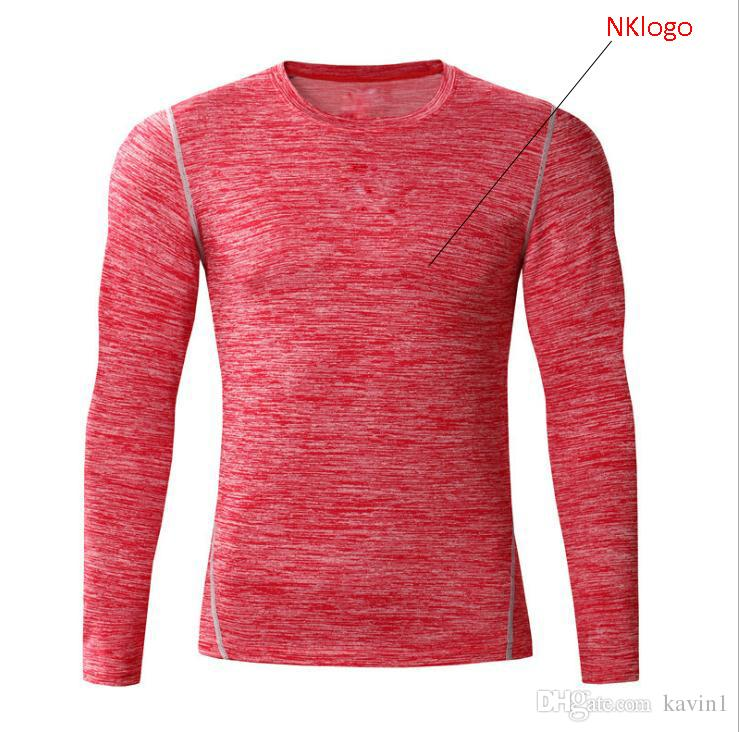 404d597f1 New 2018 Autumn Winter High Stretch Snow Red Blue Grey GYM Fitness Sports  Basketball Long Sleeve T Shirt Tight Men Latest T Shirts Design Best T  Shirts ...