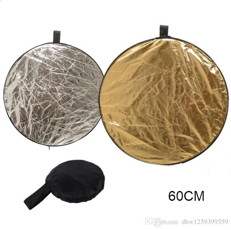 2 in1 60CM Portable Collapsible Light Round Photography Reflector For Camera Studio Flash Disc Photography Accessories Silver/Gold