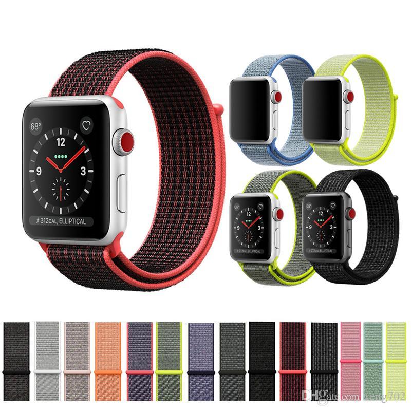 4c267df499c Compre Esporte Loop Para IWatch Série 4 321 Para A Apple Watch Banda 42mm 44mm  40mm 38mm Pulseira De Relógio De Nylon Pulseira Watchband Gancho And Loop  ...