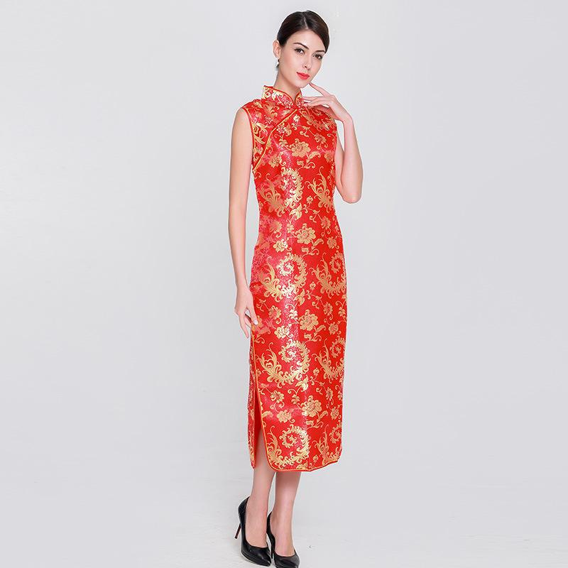 aa64752d4565 Acquista Plus Size S 3XL Donna Matrimonio Partito Cheongsam Cinese Rosso  Elegante Abito Da Sposa Floreale Vintage Collare Mandarino Qipao Abiti A   33.37 Dal ...