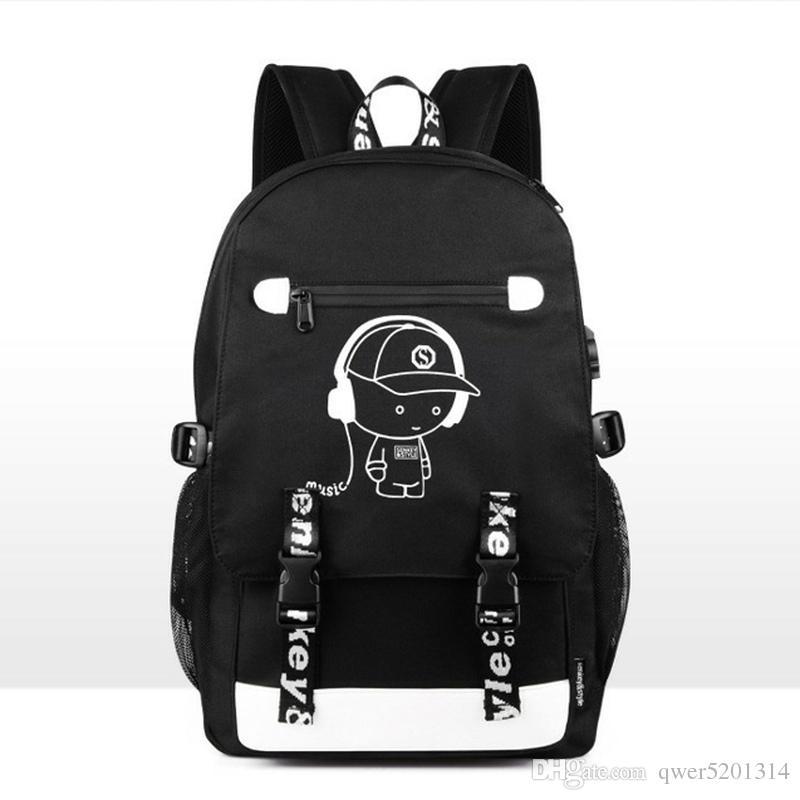 Senkey style Night light Casual Men's Backpack Fashion 18inch Laptop Backpack Teenagers Boy's Team Cartoon School Bag