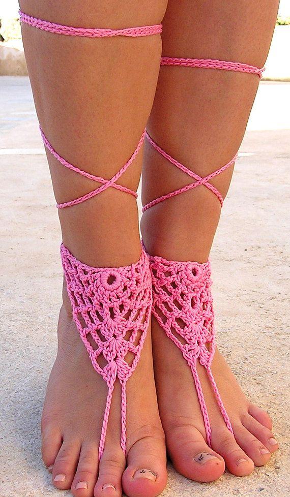 932e715fdb2f3 2019 Wholesale Beach Footwear Hot Pink Crochet Barefoot Sandals ...