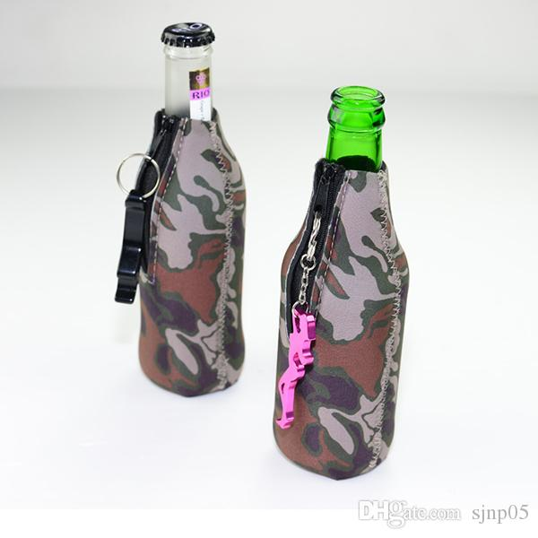Camouflage Beer Bottle Cooler Sleeves Neoprene Protection Insulation Sleeve Holder Soft Drinks Covers with Zipper Customize Multicolors