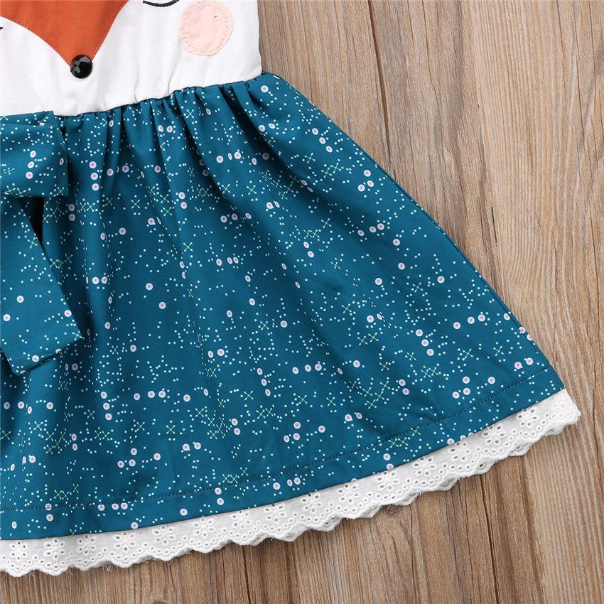 Children orange blue kids girls cartoon fox face dresses braces skirt backless princess party bowknot tutu lace dress girl clothes 1-6Y