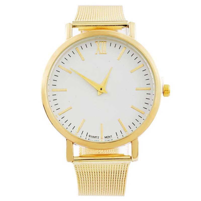 a6f0af395e0 Compre Mjartoria Malha De Aço Relógio Minimalista Big Dial Mulheres  Senhoras Relógios 2016 Feminino Pulseira De Ouro Relógio Simples Mulheres  De Pulso De ...