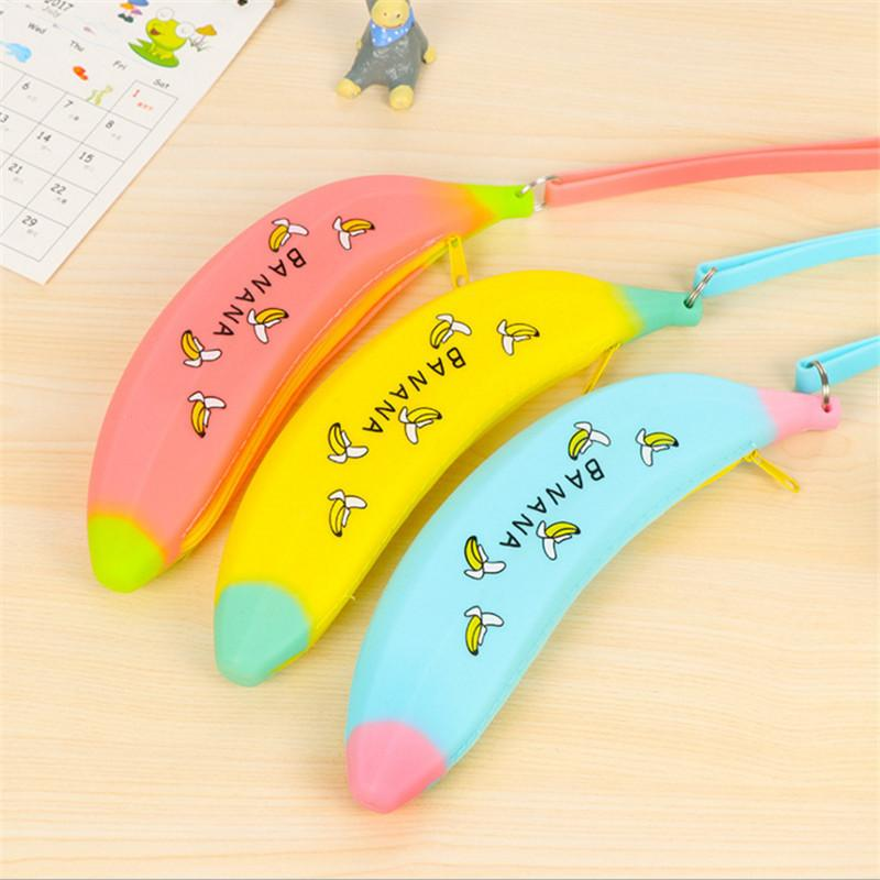 Portable Cute Coin Purse Banana Pencil Case Silicone Purse Children's Purses For Kids Yellow Pen bag For Women Wallet pouch